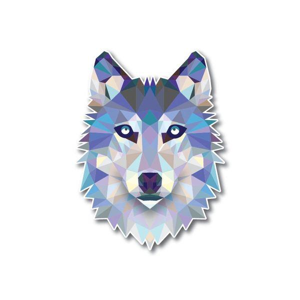 "4"" Geometric Wolf Low Poly Dog Decal Sticker Reflective Car Truck Window Laptop"
