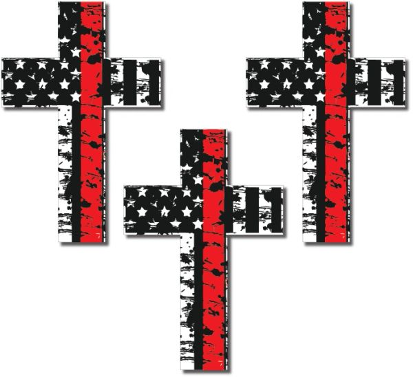 Decals by Haley Thin Green Line 3 Pack Cross I Support The Military Decal Sticker American Flag Car Truck (3 Pack)