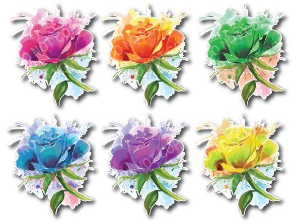 6 pack of flower decals painted abstract art sticker for car truck SUV vehicle tumbler cup mug