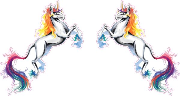 2 pack of unicorn decals painted abstract art sticker for car truck SUV vehicle tumbler cup mug