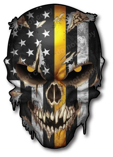 Decals by Haley Thin Yellow Line Dispatch 911 Operator Variety Pack Skull Decal Vinyl Sticker for Car Truck Vehicle Cup Mug Tumbler