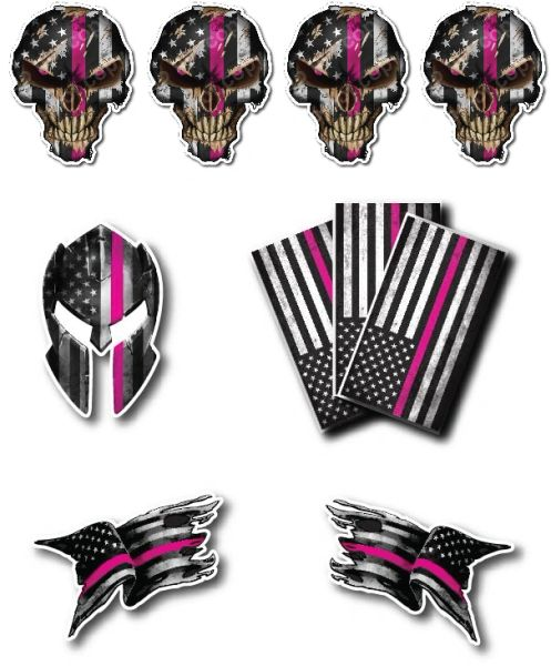 Thin Pink LINE Skull American Flag Police Officer Breast Cancer Sucks Ribbon Vinyl Decal Stickers Car Truck