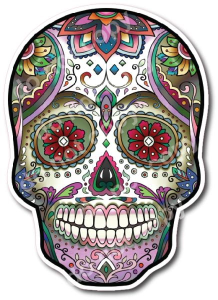 Decals by Haley Sugar Skull Decal Day of the Dead Los Muertos Vinyl Sticker for Car Truck Vehicle Cup Mug Tumbler