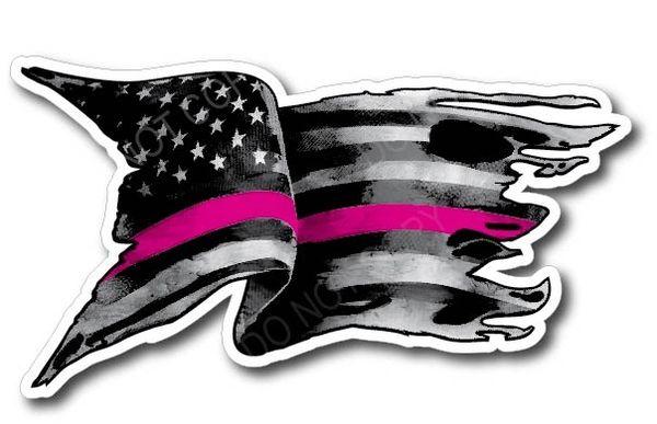 Pink LINE American Flag Breast Cancer Sucks Ribbon Vinyl Decal Stickers Car Truck