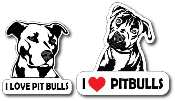 2 pack I Love Pit Bulls Dog Lover Decal Bumper Sticker Peel and Stick for Windows Cars Trucks laptops