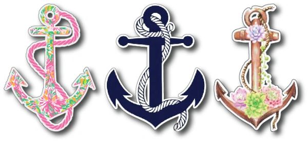 3 pack anchor Decal Bumper Sticker Peel and Stick for Windows Cars Trucks laptops