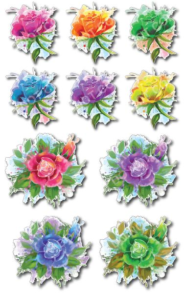 10 pack of flower decals art sticker for car truck SUV vehicle tumbler cup mug