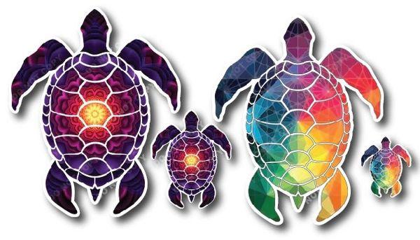 SMALL VERSION Sea Turtle Combo Pack Decal Vinyl Sticker Beach Ocean Design Printed on Sleek 3M Bubble Free Vinyl