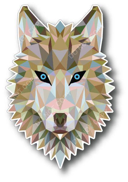 "(2) 4"" Geometric Wolf Low Poly Dog Decal Sticker Reflective Car Truck Window Laptop"