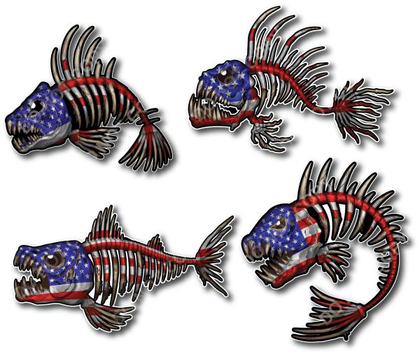 PACK OF 4 USA American Flag Bone Fish Skeleton and USA American Flag Decal Fishing Kayak Sticker Outdoors Patriot Bass Graphic