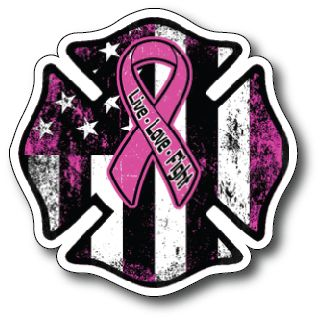 Thin Pink LINE Maltese Cross American Flag Police Officer Breast Cancer Sucks Ribbon Vinyl Decal Stickers Car Truck
