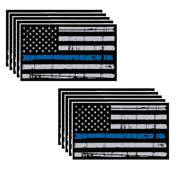 "10 pack of Tattered Flag Thin Blue Line Police Officer BLM American Distressed Flag vinyl decal Blue Lives Matter sticker Car Truck 3"" x 5.5"" Grunge Flag"