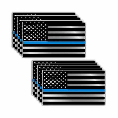 PACK OF 10 Thin Blue Line Blue Lives Matter Police Supporter Flag Vinyl Decal