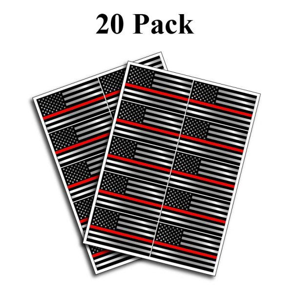 """20 pack of Flag Thin Red Line Police Officer BLM American Distressed Flag vinyl decal Blue Lives Matter sticker Car Truck 1.75"""" x 2.5"""""""