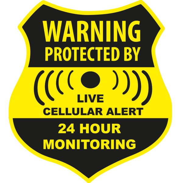 WARNING PROTECTED BY CELLULAR ALERT VINYL DECAL