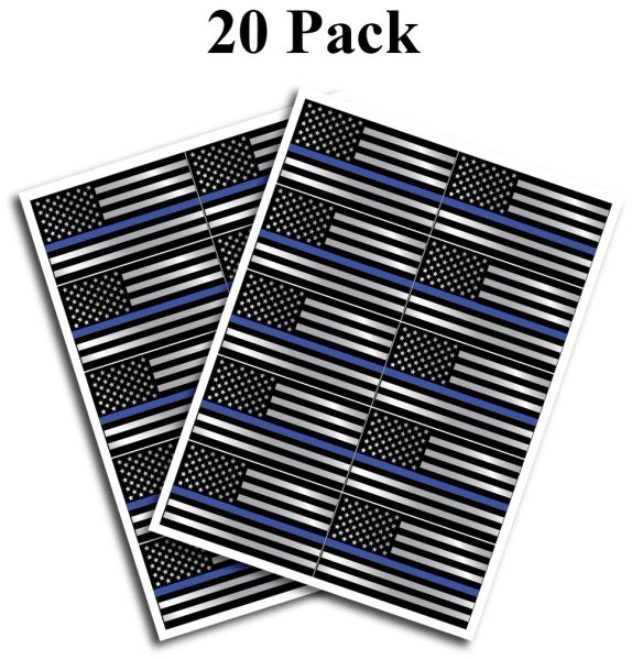 "20 pack of Flag Thin Blue Line Police Officer BLM American Flag vinyl decal Blue Lives Matter sticker Car Truck 1.75"" x 2.5"""