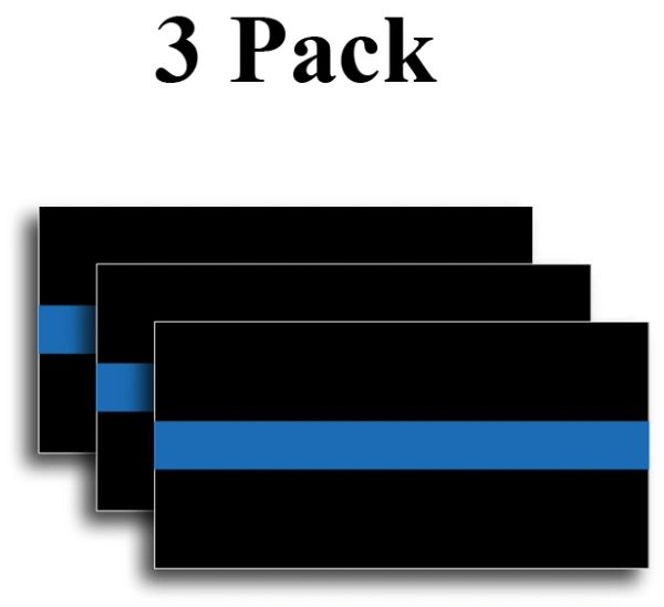 """2"""" x 4"""" Reflective Thin Blue Line Sticker Decal Police Support 3M Fallen Officer"""