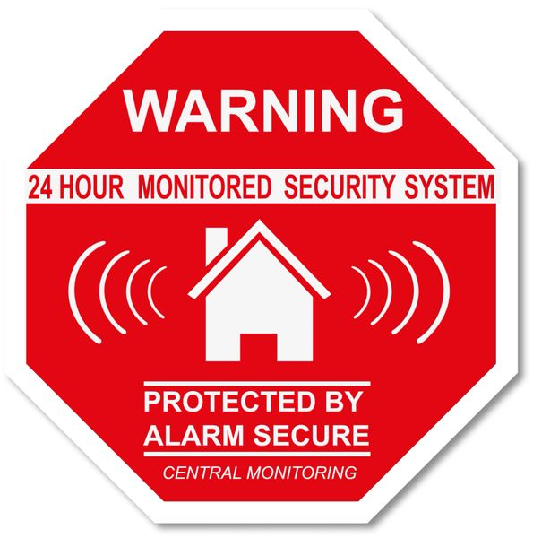 WARNING 24 HOUR MONITORED SECURITY SYSTEM DECAL