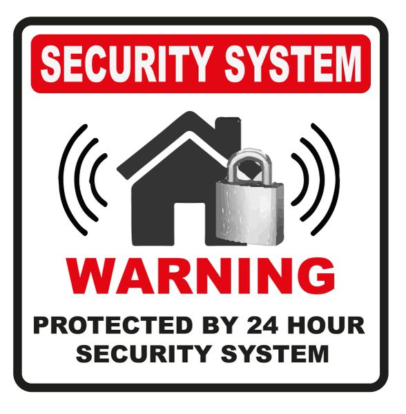 WARNING 24 HOUR SECURITY SYSTEM DECAL