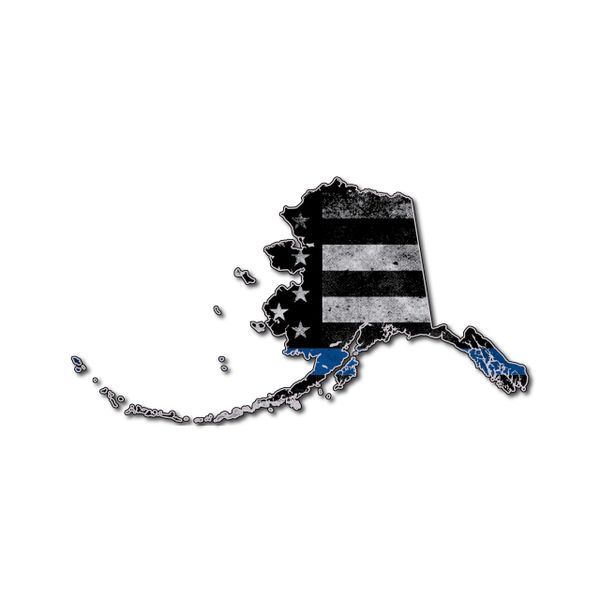 Alaska Thin blue line State Shaped Subdued flag vinyl decal sticker