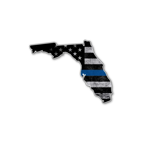 Florida Thin blue line State Shaped Subdued flag vinyl decal sticker