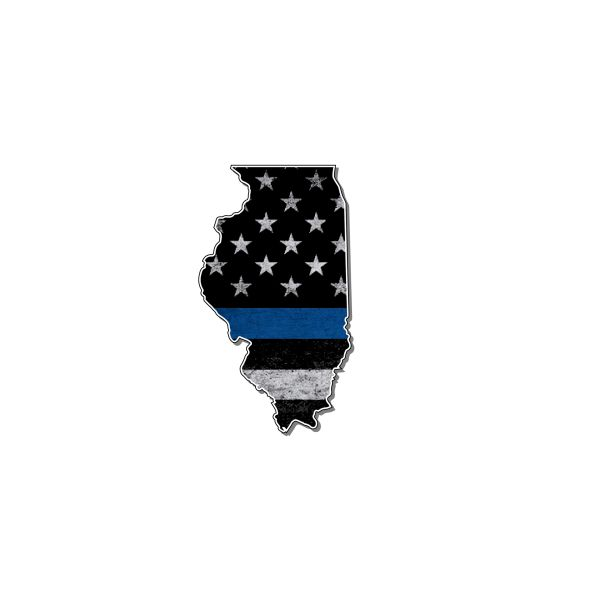 Illinois Thin blue line State Shaped Subdued flag vinyl decal sticker