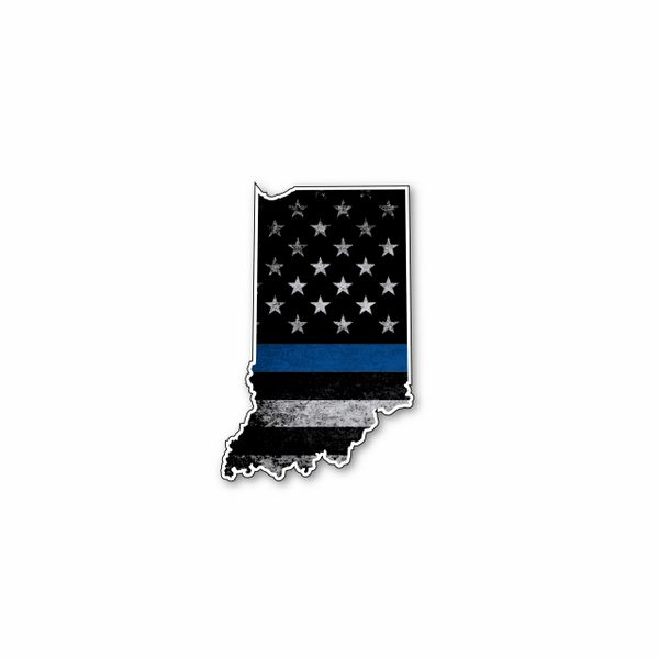Indiana Thin blue line State Shaped Subdued flag vinyl decal sticker