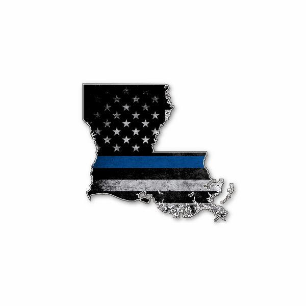 Louisiana Thin blue line State Shaped Subdued flag vinyl decal sticker