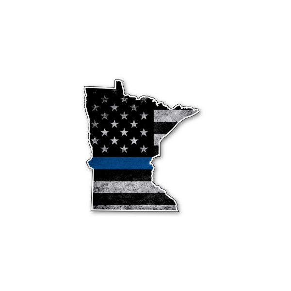 MinnesotaThin blue line State Shaped Subdued flag vinyl decal sticker