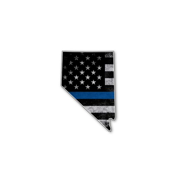 Nevada Thin blue line State Shaped Subdued flag vinyl decal sticker