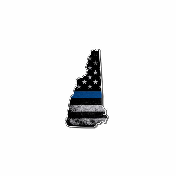 New Hampshire Thin blue line State Shaped Subdued flag vinyl decal sticker
