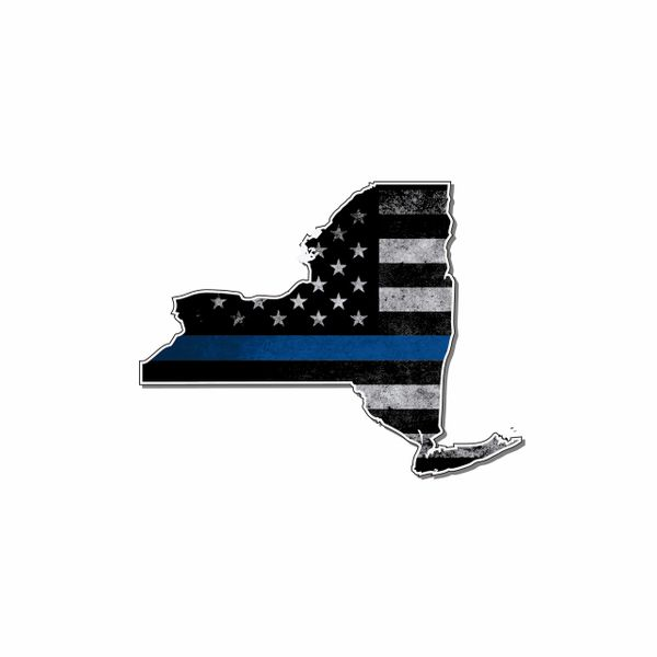 New York Thin blue line State Shaped Subdued flag vinyl decal sticker