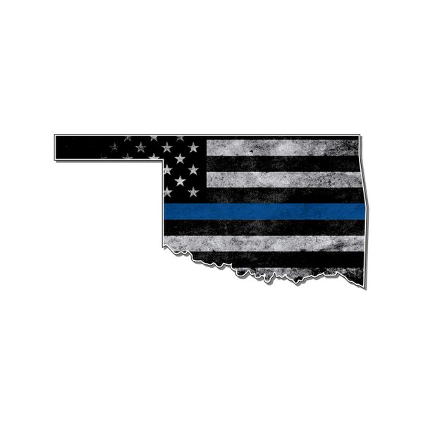 Oklahoma Thin blue line State Shaped Subdued flag vinyl decal sticker