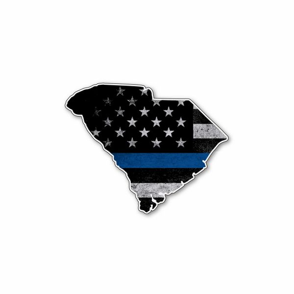 South Carolina Thin blue line State Shaped Subdued flag vinyl decal sticker