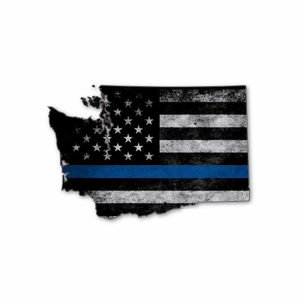 Washington Thin blue line State Shaped Subdued flag vinyl decal sticker
