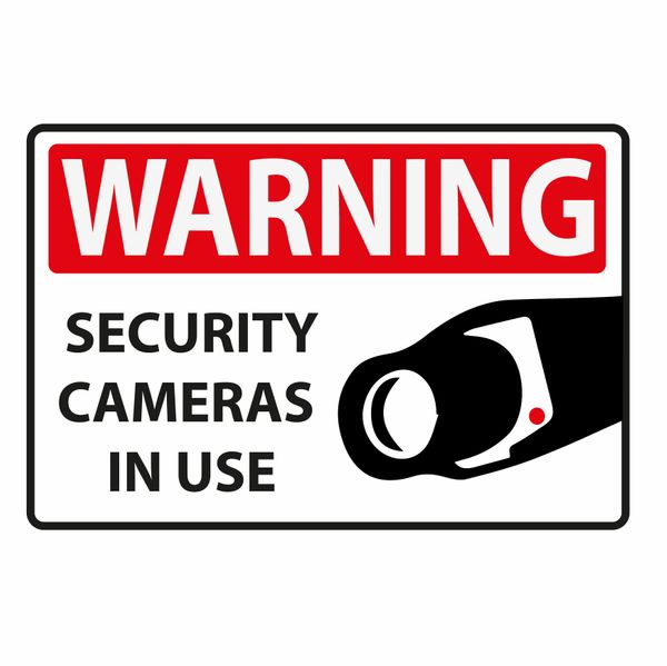 WARNING SECURITY CAMERAS IN USE VINYL DECAL
