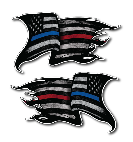 2 Thin Blue Red Line Subdued Tattered American Flag decal sticker Police Officer