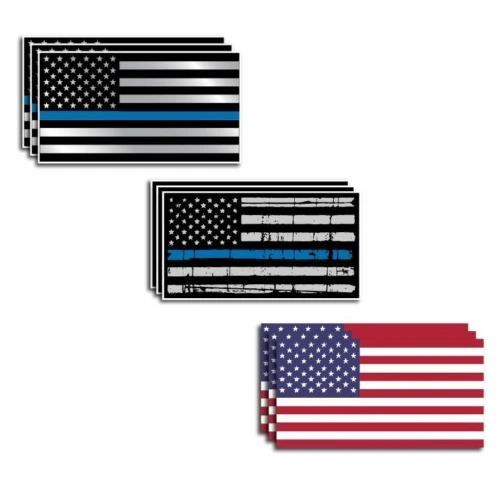 9 Pack Police Officer American Flag Thin Blue Line decal sticker Blue Lives Matter