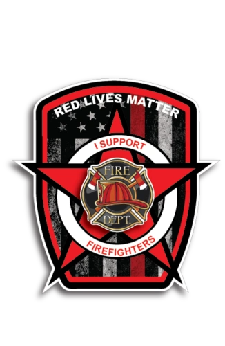 Red Lives Matter American Flag Firefighters Decal Sticker Thin Red Line USA Flag
