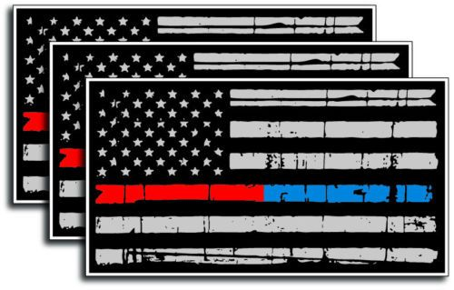 3 Pack Thin Blue Red Line Subdued Tattered American Flag decal sticker Police Officer