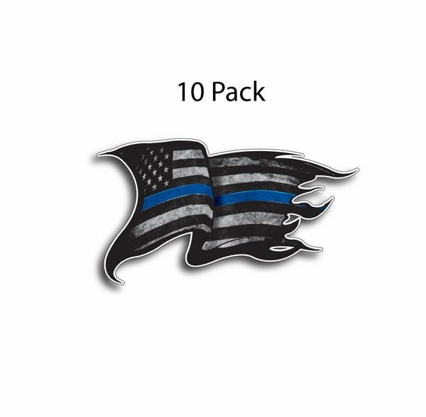 10 Thin Blue Line decal sticker Police Officer Tattered Distressed American Flag