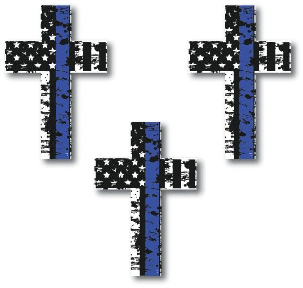 Decals by Haley 3 Pack of Thin Blue Line Cross Decals Police Officer BLM American Flag Vinyl Decal Sticker Car Truck