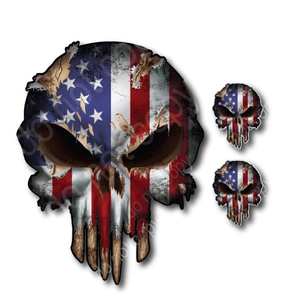 3 pack Punisher Skull USA American Flag Hardhat Sticker Vinyl Decal Car Truck Yeti