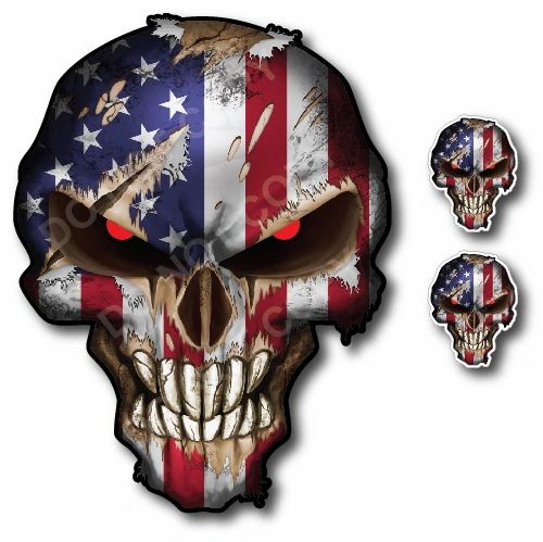 USA American Flag Skull with Red Eyes