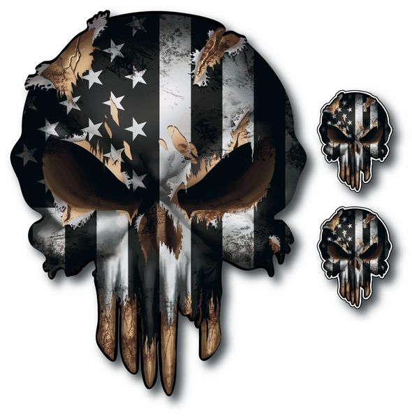 Pack of 3 Black and White Punisher Skull American Flag Vinyl Decal Stickers Car Truck Sniper Marines Army Navy Military Graphic