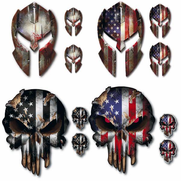 12 Pack Spartan Helmet Punisher Skull Decal Sticker Molon Labe Sniper USA Flag