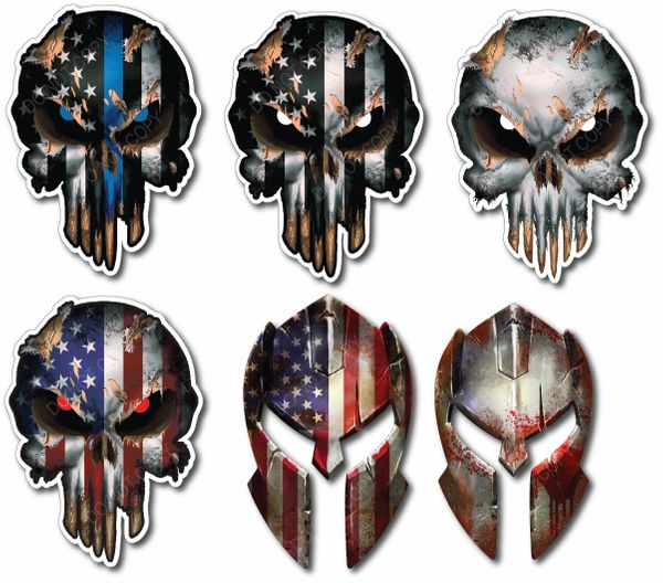 6 pack Skull Decal Laptop Car 3d Sticker Car USA Army Sniper Military