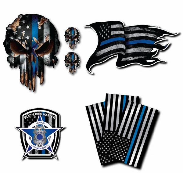 8 Pack Thin Blue Line Decal Sticker Variety Pack American Flag Blue Lives Matter