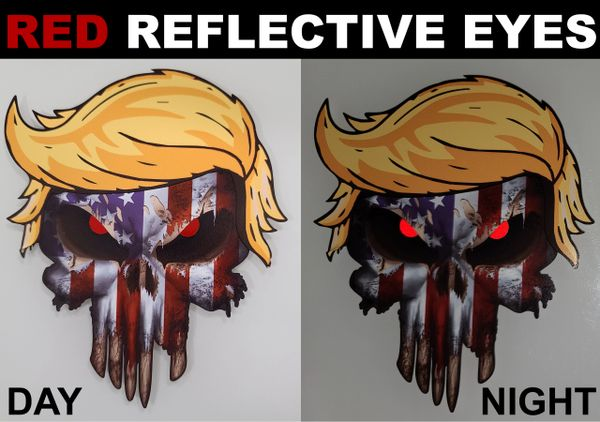 Pack of 3 USA American Flag Skull Decal stickers with Donald Trump Hair and Reflective eyes
