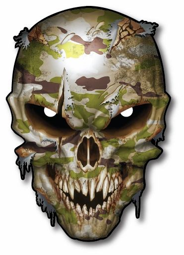 Camouflage Skull Decal Army Car Truck Military Pack Sticker TGL Thin Green Line Army. Marine Corps Navy Air Force Coast Guard
